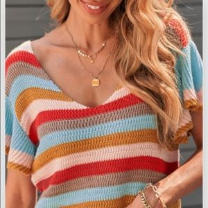 Boutique Ruffle  knit top Striped